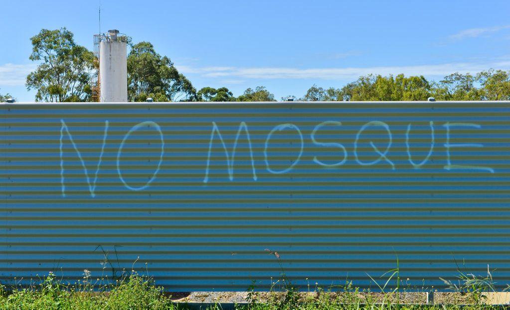 VANDALISM ATTACK: Racist graffiti at the proposed Islamic centre site.