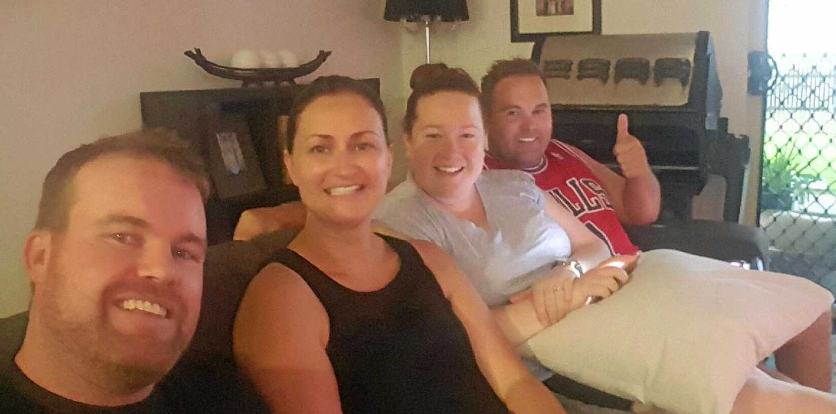 Paul and Nicole Scullie bunkered down during Cyclone Debbie with friends Liz Gray and Mat Christie who were visiting from Bendigo.