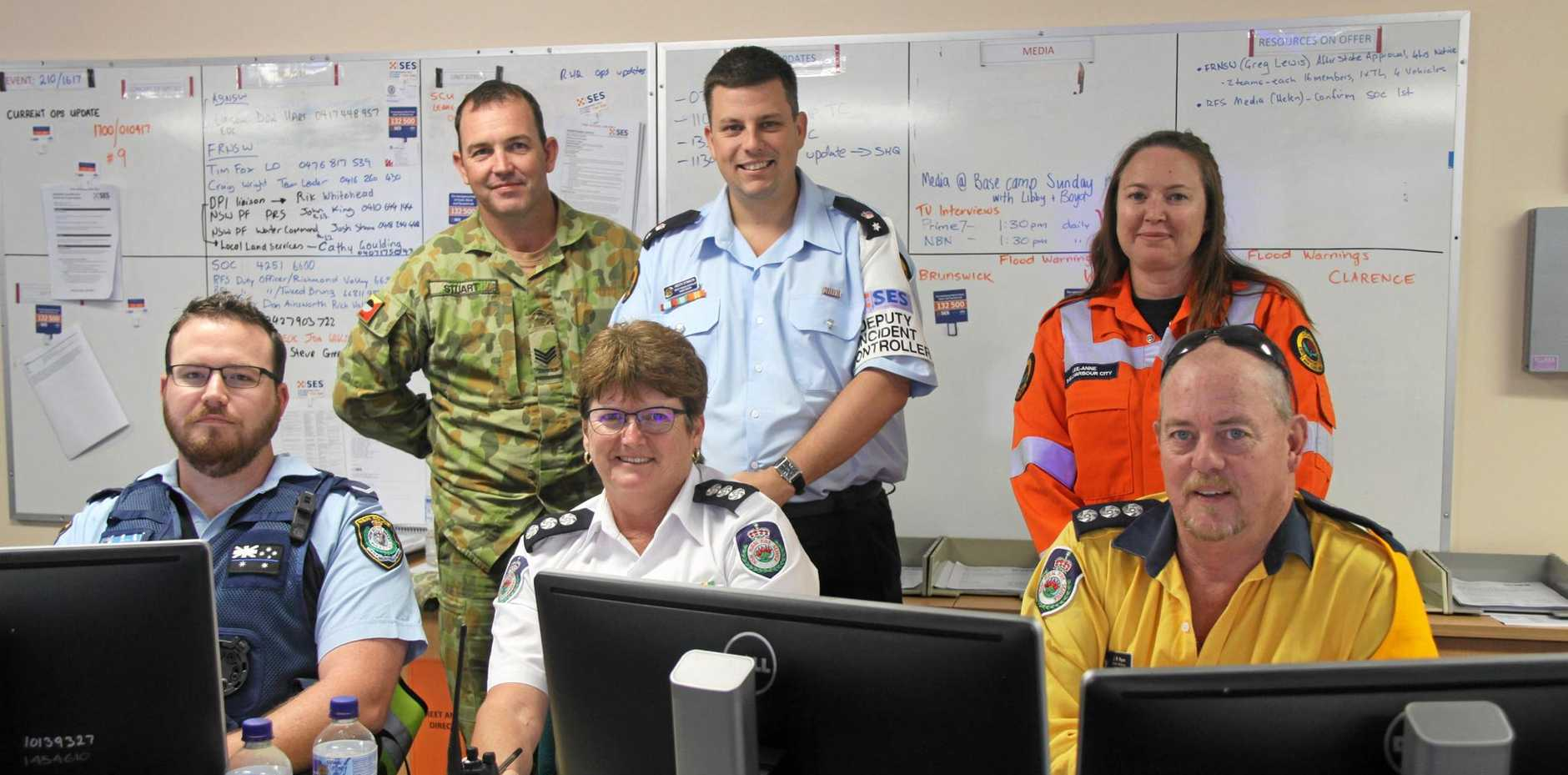 Representatives of the many agencies working to restore Lismore and surrounds to normalcy include the night-shift crew at the SES HQ, include Jarrod Wed (Police) Sgt St Stuart (Army) Heath Stimson (SES), Liz Ferris (RFS) Lee-Anne Stanford (SES) and John Ryan (RFS).