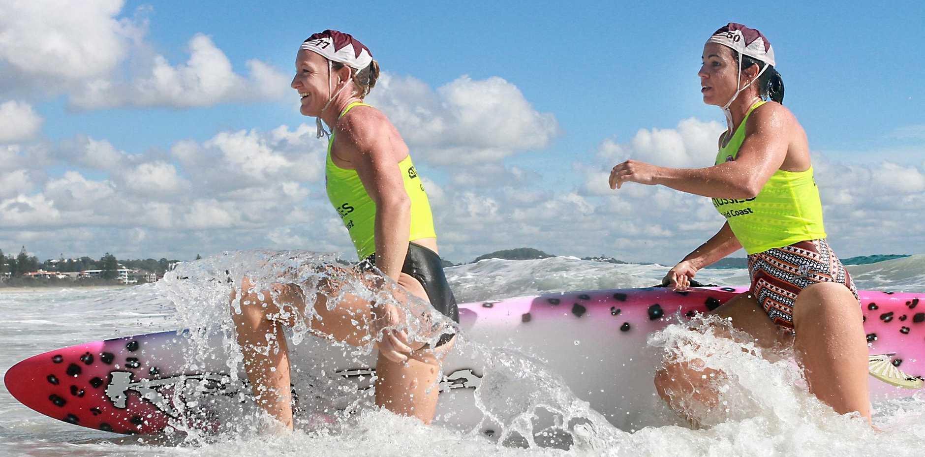 IN THE WATER: Krystl Smith and Lee Vrolyks in action last week.