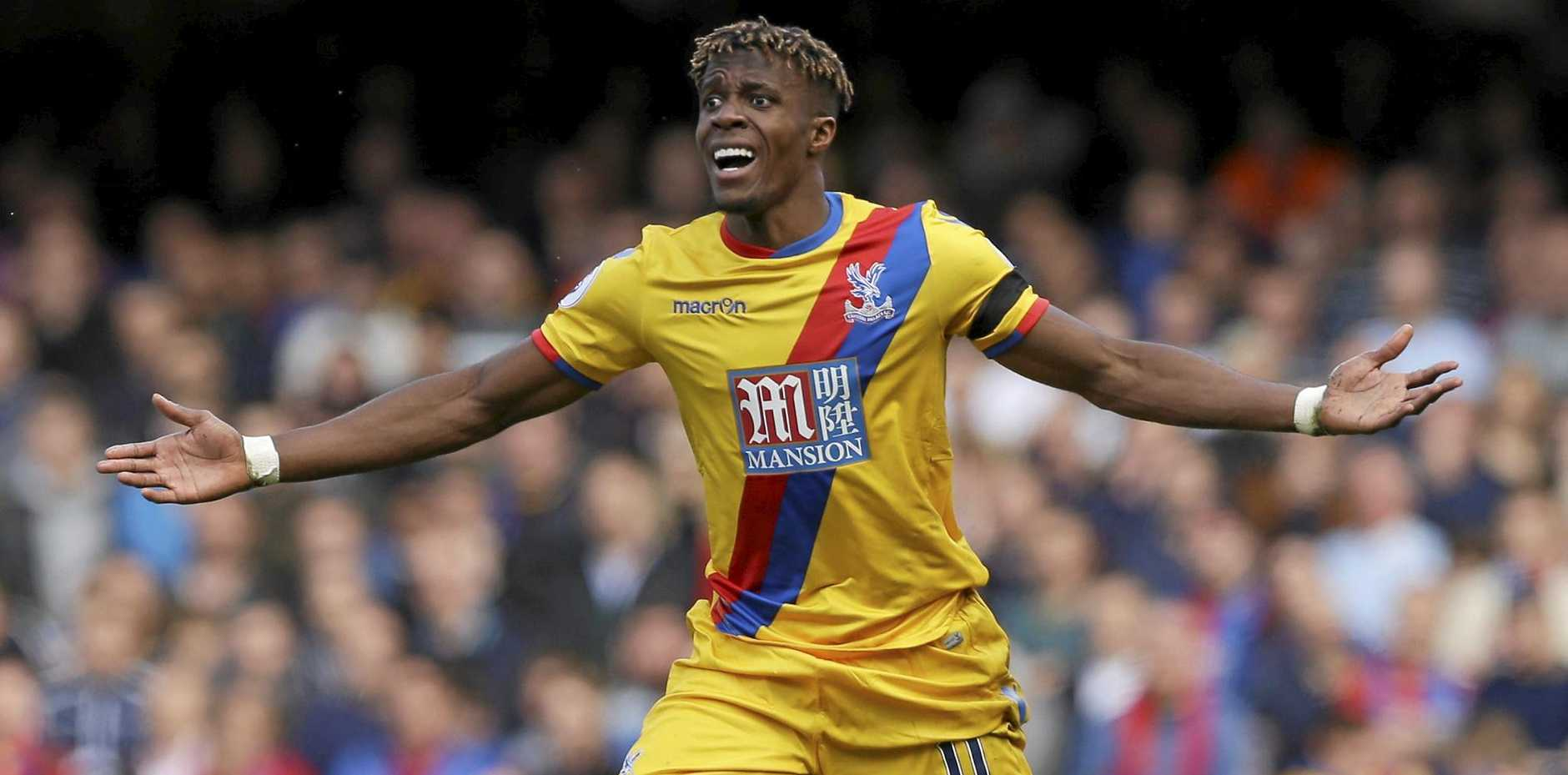Crystal Palace's Wilfried Zaha scored the first for Crystal Palace in its 2-1 win at Chelsea.