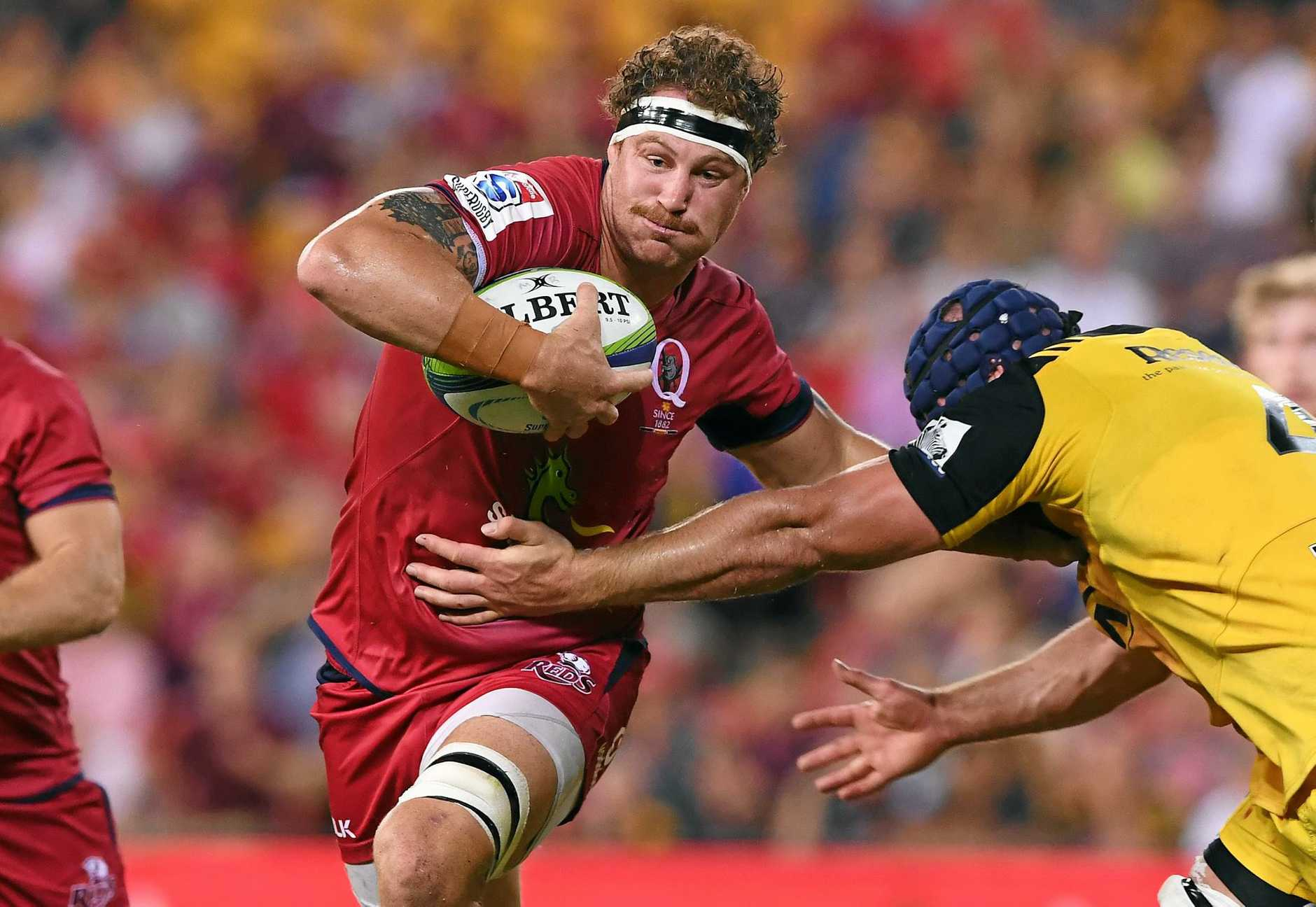 Reds player Scott Higgenbotham during the Round 6 Super Rugby match between the Queensland Reds and the Hurricanes at Suncorp Stadium in Brisbane, Saturday, April 1, 2017. (AAP Image/Dave Hunt) NO ARCHIVING, EDITORIAL USE ONLY