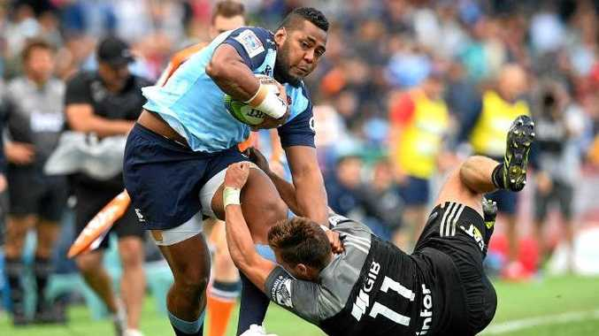 Taqele Naiyaravoro scored a magnificent try to bring the Waratahs back in the contest against the Crusaders. Source: AAP