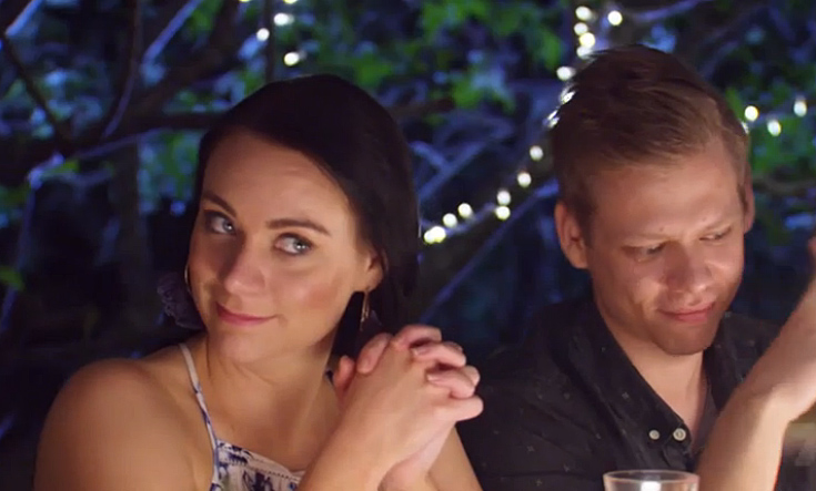 Amy questions Josh's tactics at the dinner table.