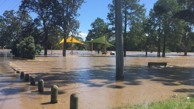 A neighbourhood park inundated by flood waters in Logan.