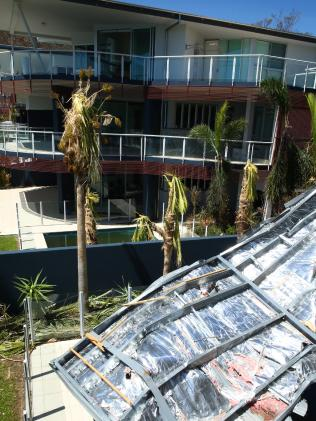Damage at the $1200-a-night Pavillions Apartments on Hamilton Island.