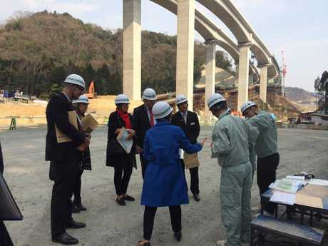 IMPORTANT: Inspecting the the Meishin Expressway being built through Takatsuki are (facing the camera from right) Cr James O'Shea, Mayor Paul Antonio, Cr Nancy Sommerfield, (left) Toowoomba council chief executive officer Brian Pidgeon and Japanese officials.