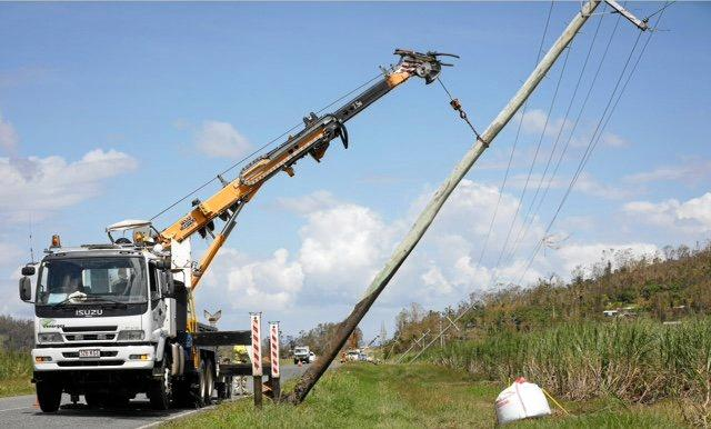 High voltage line repairs at Strathdickie on April 2