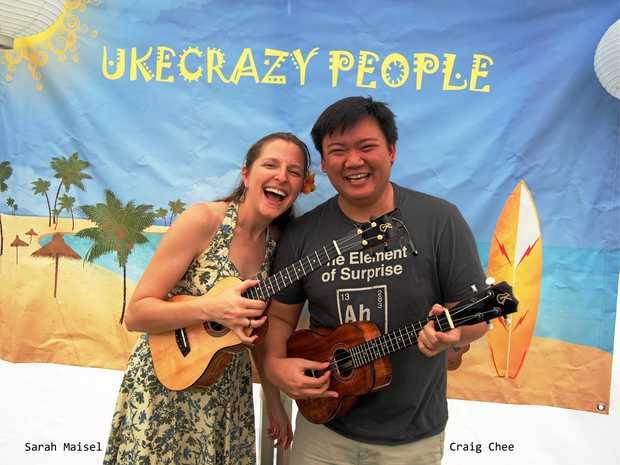 UKE HAPPY: Sarah Maisel and Craig Chee will play at the Tropulele Ukulele Festival at Kenilworth Showgrounds.