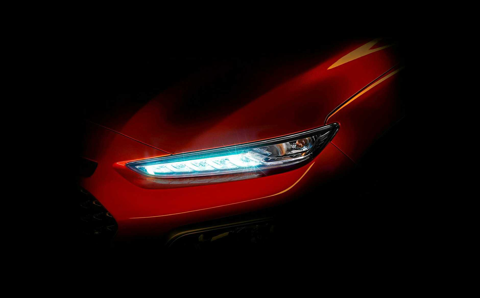 A teaser images of the Hyundai Kona small SUV due to arrive in Australia in the second half of 2017.