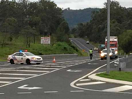 The scene of the tragic accident on the Bruce Hwy north at the United service station last Friday.