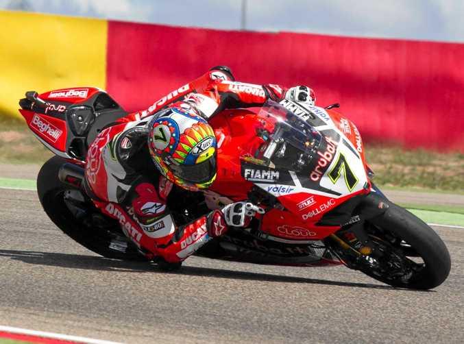 BROKE THROUGH: British rider Chaz Davies during the weekend's Superbike World Championship race at Aragon in Spain.