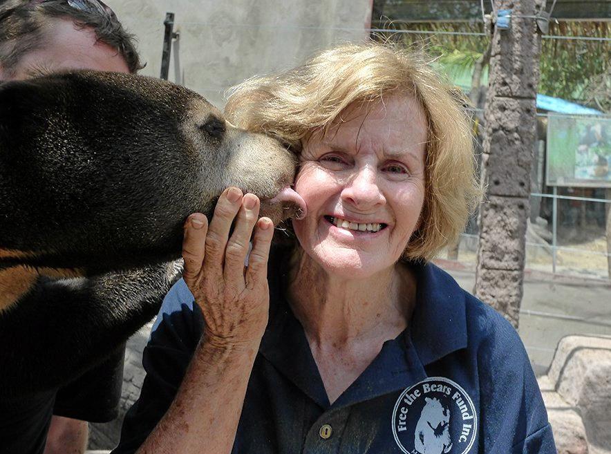 FOR THE BEARS: Mary Hutton with a sun bear.