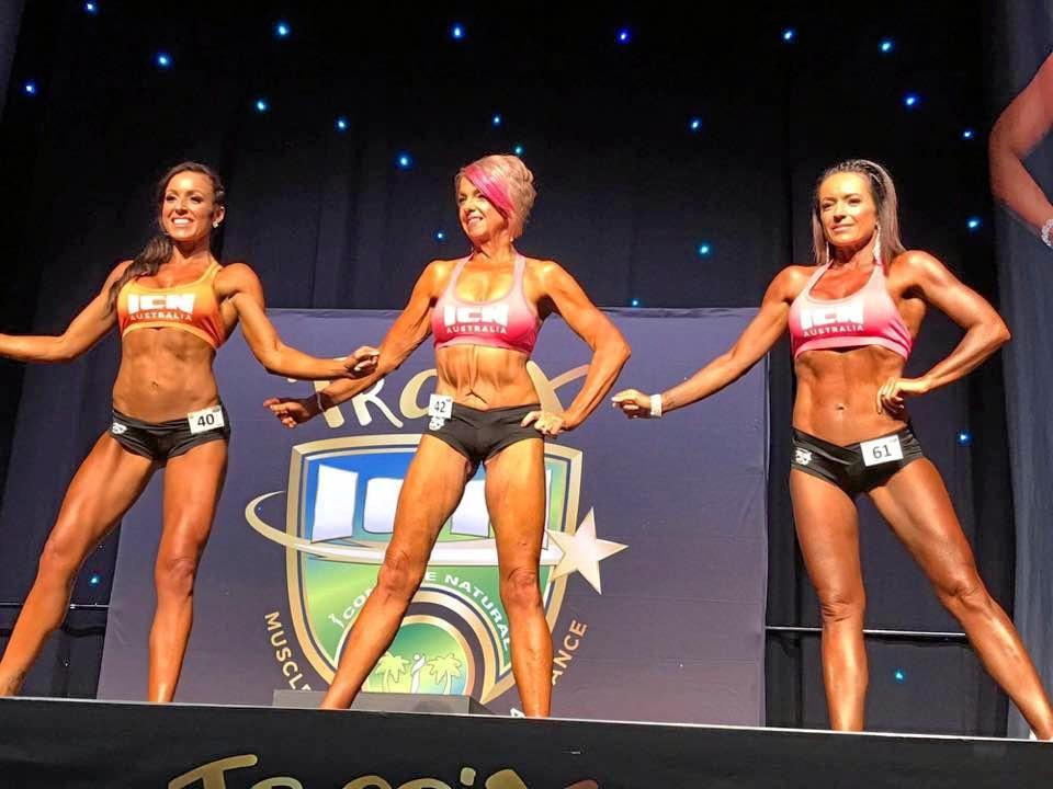 STRUTTING IT: Three year's later Melissa Homan has dropped nearly 40kg and sculpted her body; she's proud to show it off on stage.