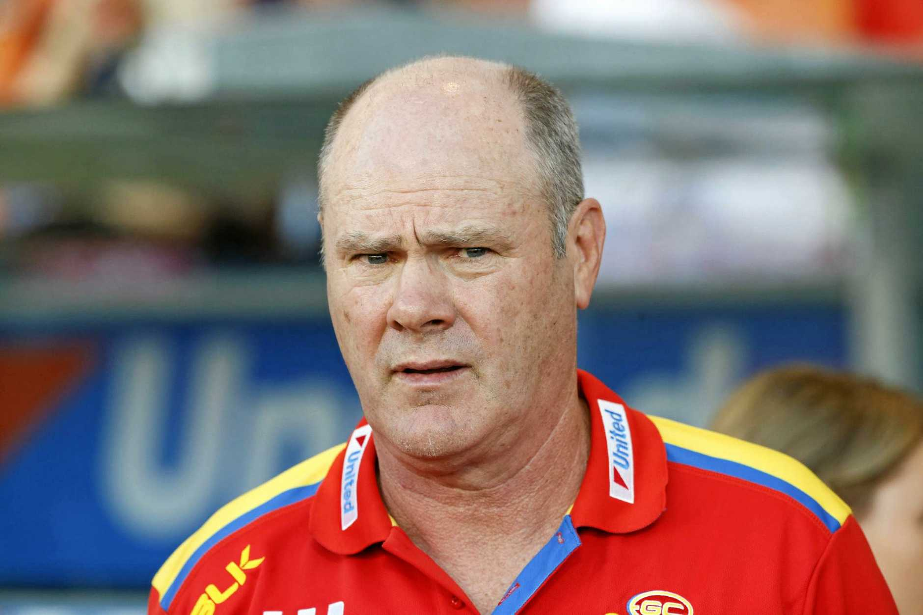 Suns coach Rodney Eade during the Round 18 AFL match between the Gold Coast Suns and the Fremantle Dockers at Metricon Stadium in Carrara on the Gold Coast, Saturday, July 23, 2016. (AAP Image/Glenn Hunt) NO ARCHIVING, EDITORIAL USE ONLY