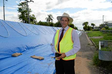 Cr Tony Williams with flood mitigation in North Rockhampton.