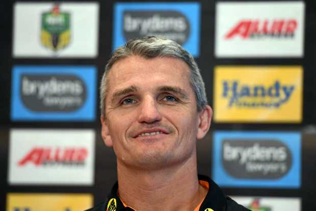 New Wests Tigers NRL coach Ivan Cleary answers a question at a press conference in Sydney on Monday, April 3, 2017. Cleary was appointed coach to replace Jason Taylor following his round 3 sacking. (AAP Image/Paul Miller) NO ARCHIVING