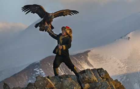A scene from the movie The Eagle Huntress.