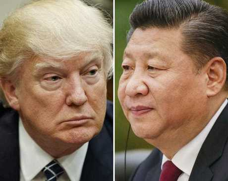 This combination of file photos shows U.S. President Donald Trump on March 28, 2017, in Washington, left, and Chinese President Xi Jinping on Feb. 22, 2017, in Beijing. Trump is suggesting ahead of his two-day meeting starting Thursday, April 6, 2017 with Xi that with or without Beijing's help, he can