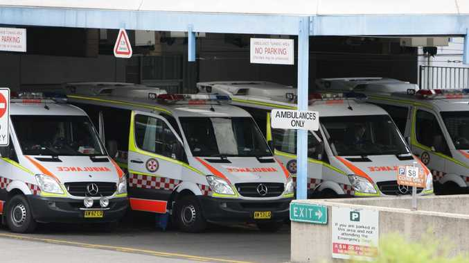 Ambulances at Westmead Hospital. Picture: Jeff Herbert