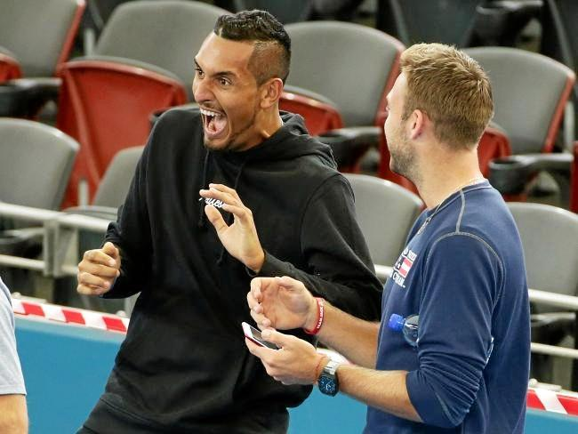 Nick Kyrgios has a laugh with the American team. Picture: Mark Calleja/News Corp Australia