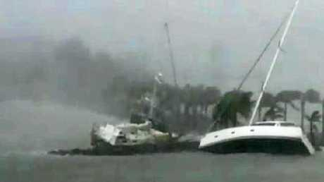 Boats at Hamilton Island during Cyclone Debbie