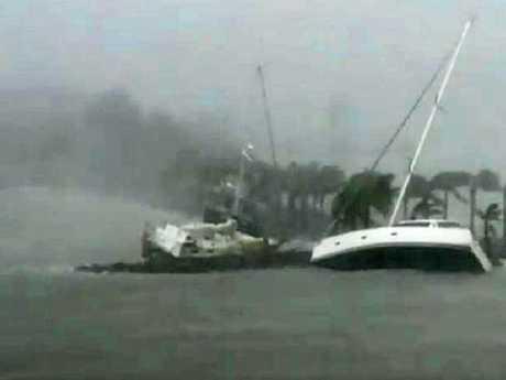 Boats at Hamilton Island during Cyclone Debbie
