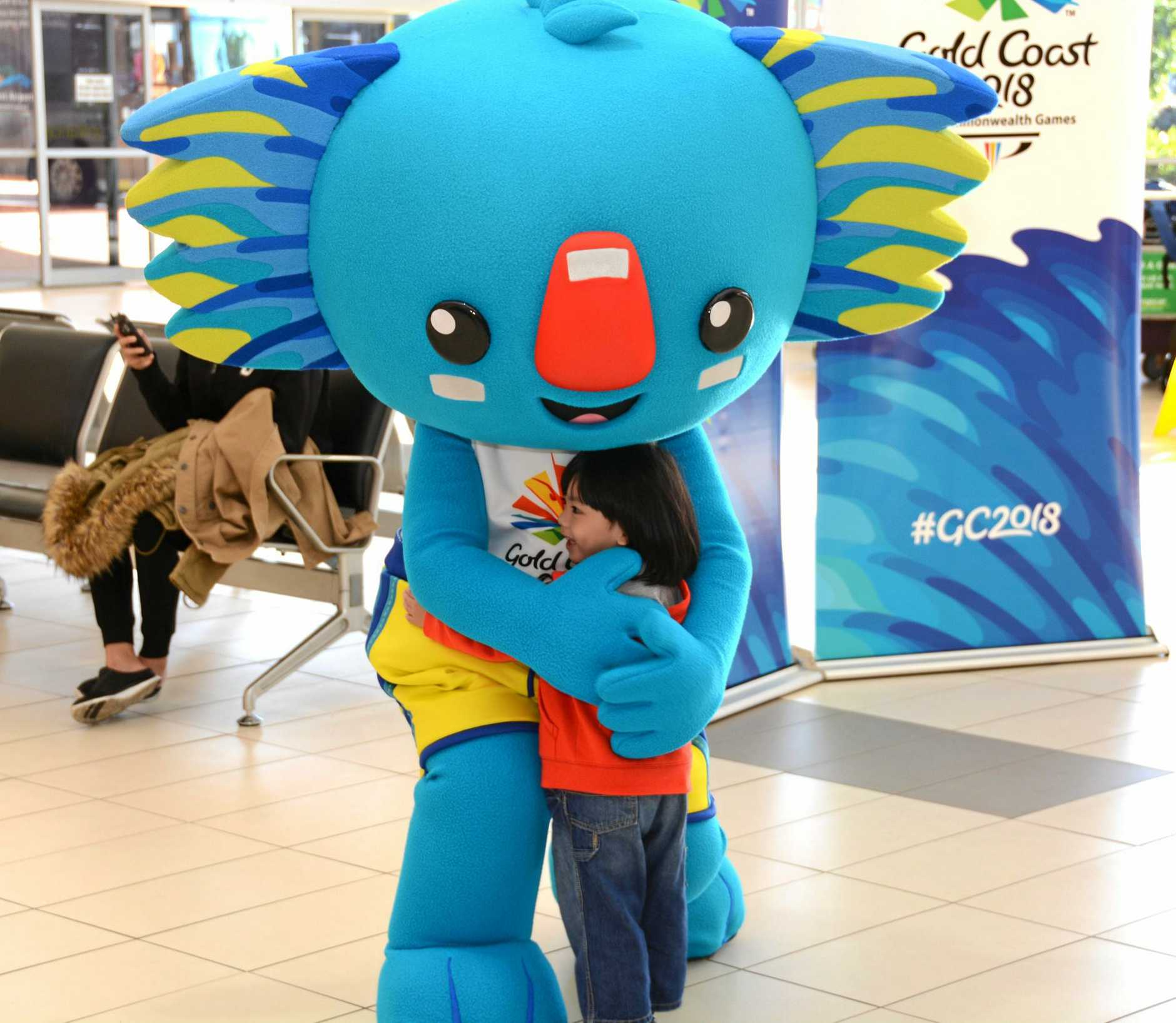 Gold Coast 2018 Commonwealth Games mascot Borobi greeting international passengers at Gold Coast airport on Wednesday, May 25