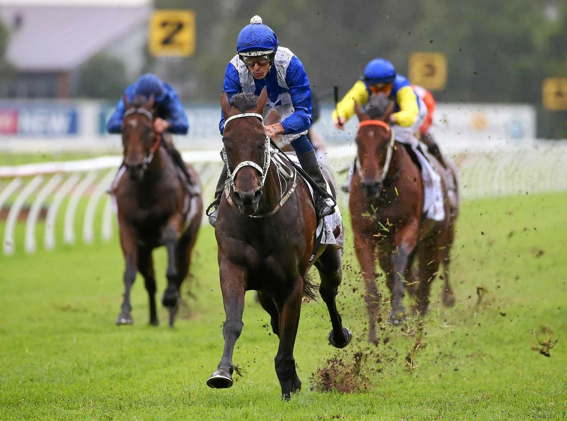 Winx (centre), ridden by Hugh Bowman, wins the China Horse Club George Ryder Stakes during Golden Slipper Day at Rosehill in Sydney last month.