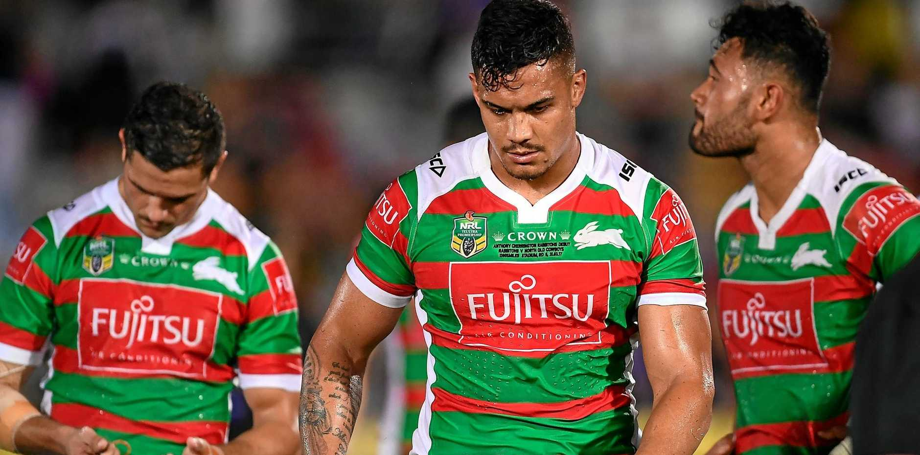 Anthony Cherrington of the Rabbitohs with his teammates after losing the round five NRL match against the Cowboys.