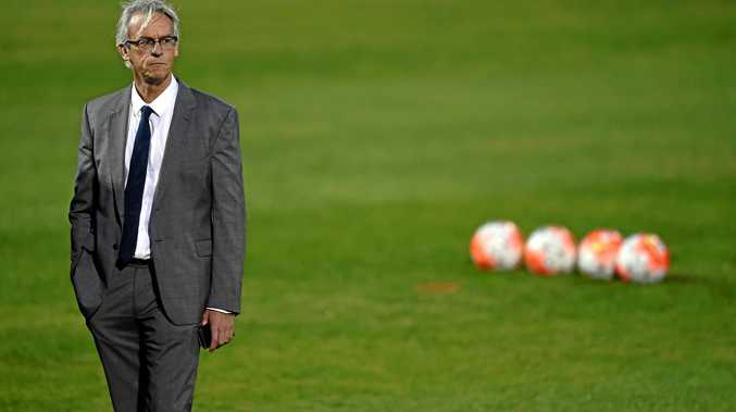 FFA chief executive David Gallop at a Socceroos training session.