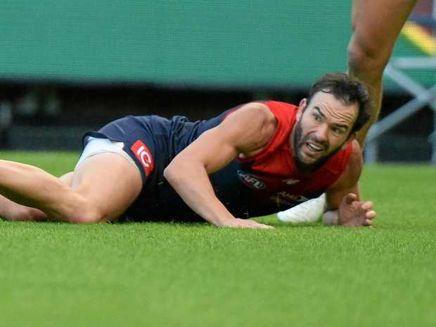 Melbourne's Jordan Lewis during the round-two match against Carlton at the MCG.