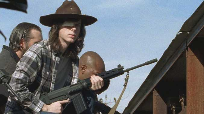 Chandler Riggs in a scene from The Walking Dead.