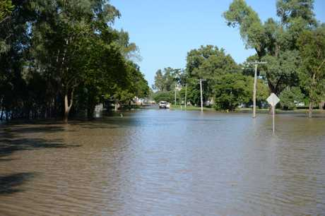 Goodsall St in Rockhampton as Fitzroy River flooded after Cyclone Debbie