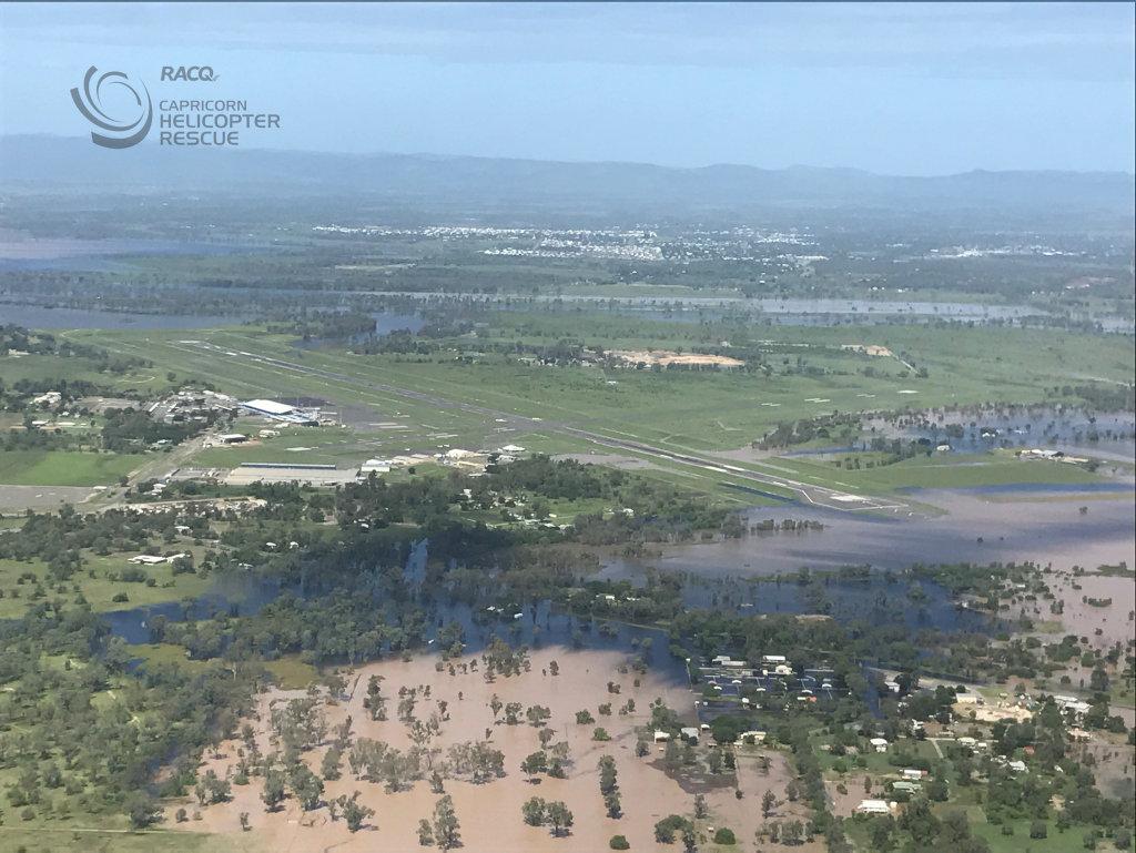 Rockhampton flood.Photo RACQ CAPRICORN HELICOPTER RESCUE SERVICE.