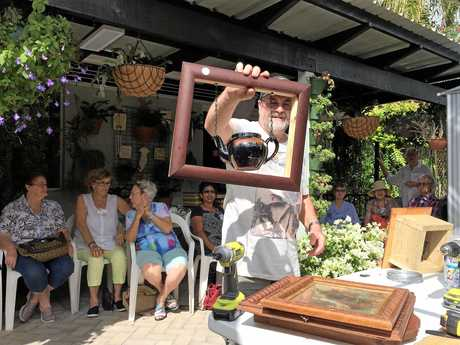 Buderim Garden Club President John Lyon presented his garden art to members.