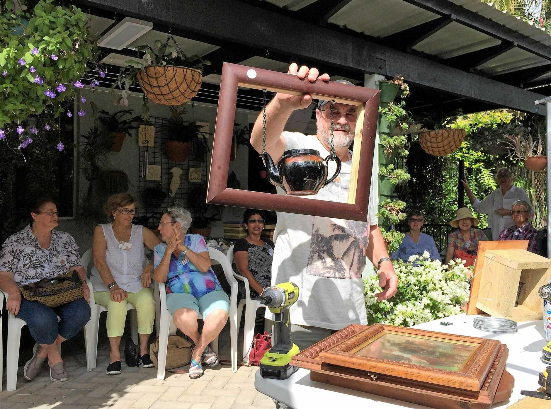 Buderim Garden Club President John Lyon presented his garden art to members.