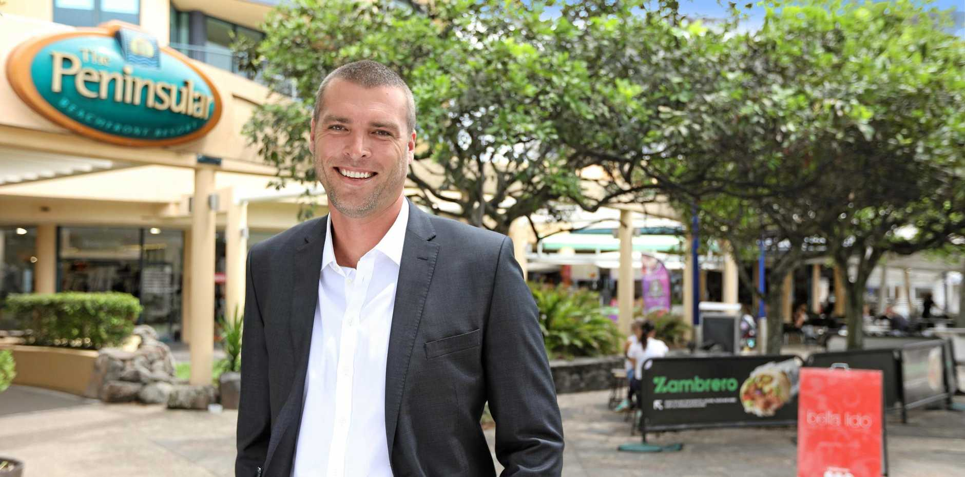 IN DEMAND: Ryan Parry of CBRE Sunshine Coast on site at the Peninsular Resort Mooloolaba that has seen $7.77million in transactions in the past 13 months.