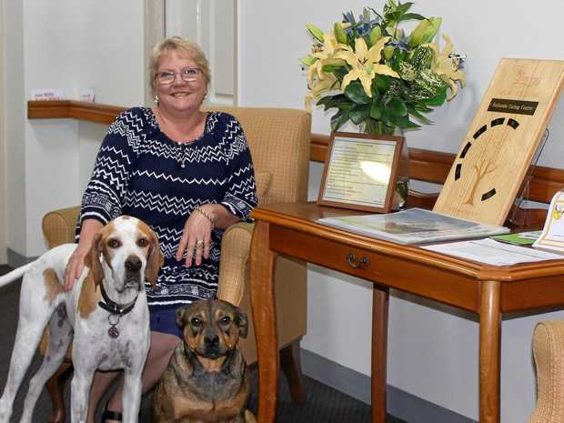 Bethesda Caring Centre nursing director Vicki Lea and two of her important support team members, Charlie Brown and Rudie.