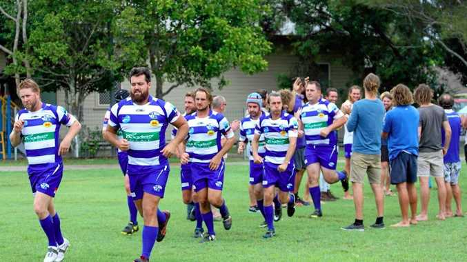 UP FOR IT: The Byron Rugby Reserve Grade Sand Crabs take to the field.