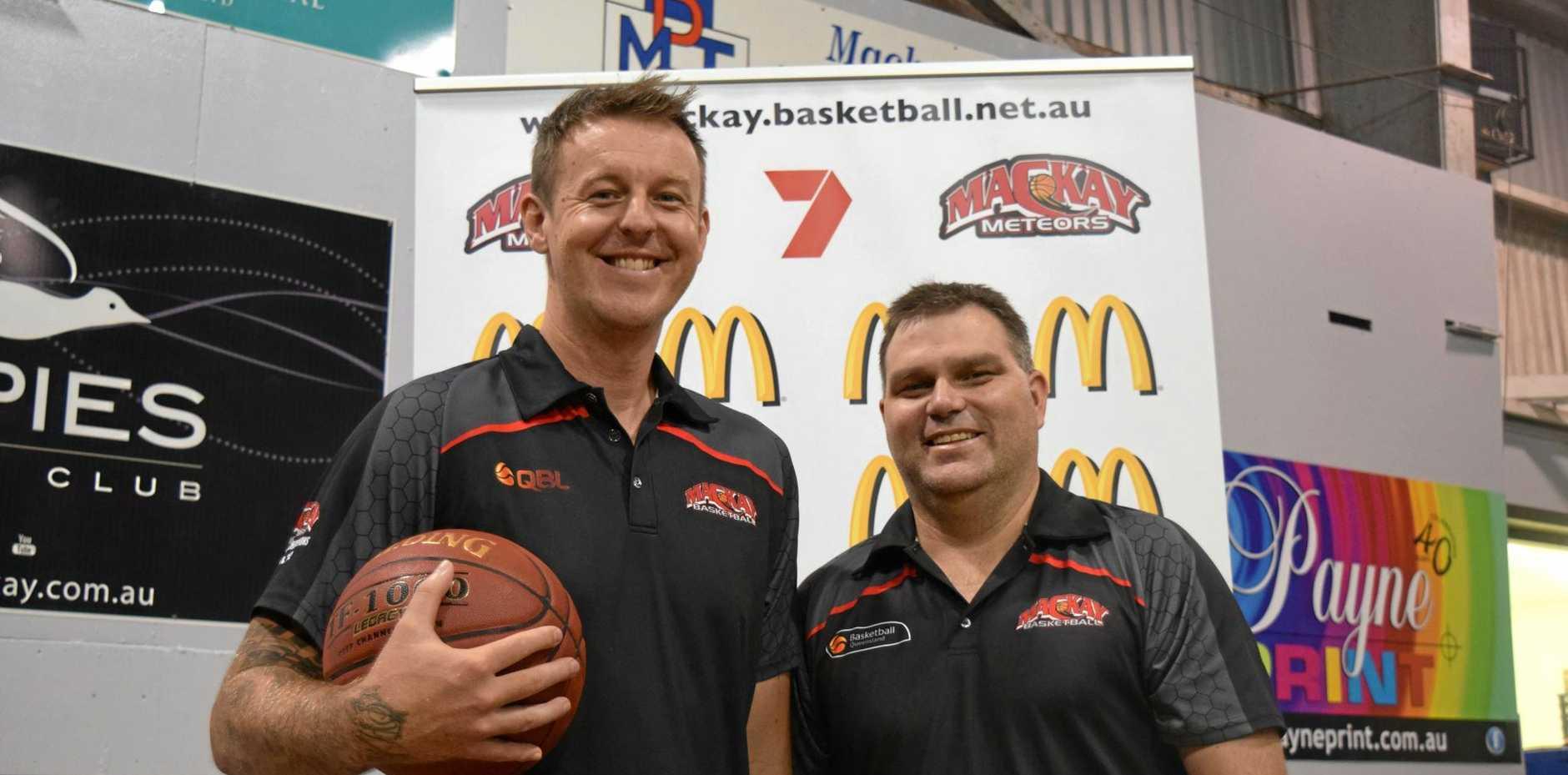 FRESH FACES: New Mackay Meteors head coach Cameron Tragardh and business development manager Wade Rebetzke.