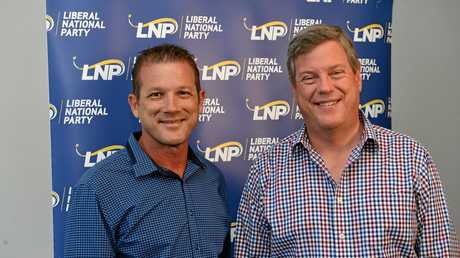 CORRECTING THE RECORD: LNP candidate David Batt with LNP Leader Tim Nicholls in Bundaberg last month.