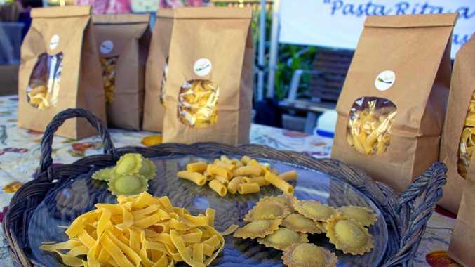 Ravioli, fettucine, and macaroni are a few of the types of pasta 'Pasta Rita' makes.