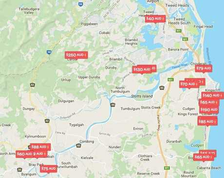 A screen shot of a number of Tweed properties listed on Airbnb.