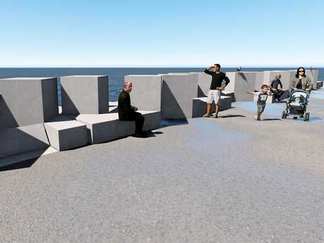 An artist's impression of what the Coffs Harbour north wall will look like when completed.