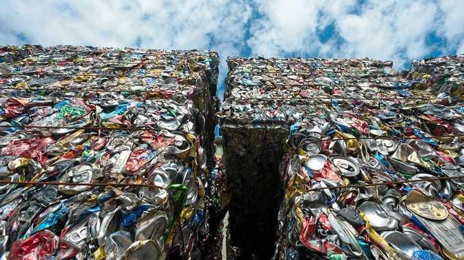 HANDYBIN WASTE SERVICES: Aluminium can bails.