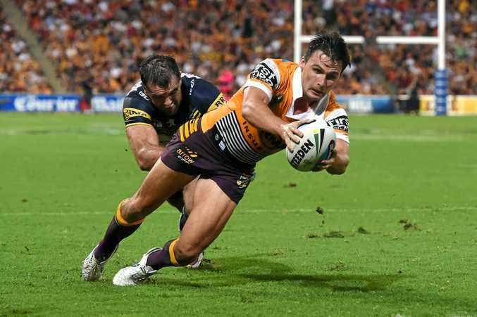 Lachlan Maranta scores a try for the Broncos.