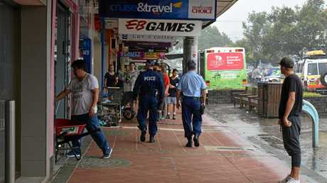 Police patrolling the streets of Lismore as the town continues to clean up.