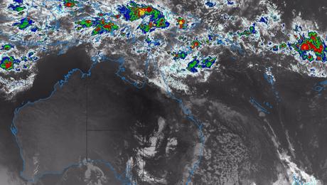 A Bureau of Meteorology radar image at 9.30am AEST on April 5.