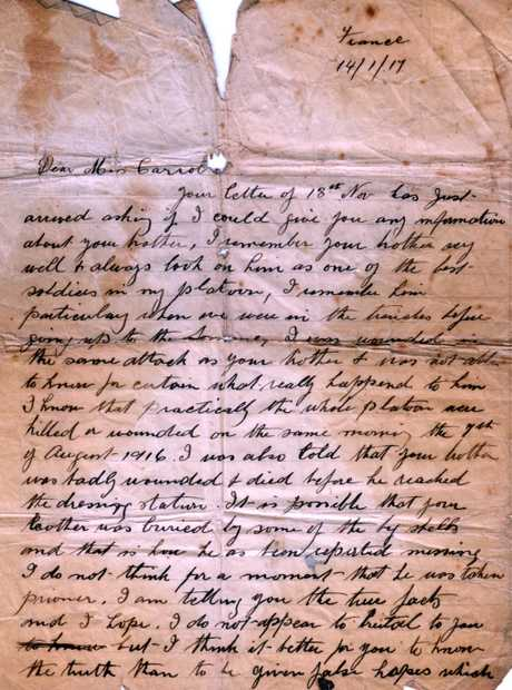 A letter from 14th Battalion Lieutenant Albert Jacka, preserved at the Maryborough Military Museum.